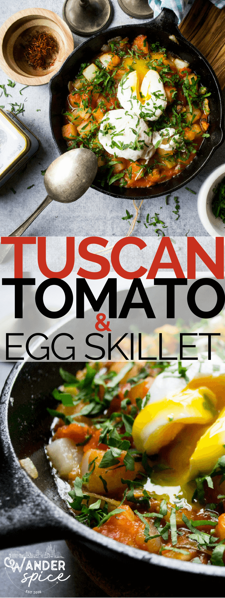 Tuscan Tomato Egg Skillet, a hearty, Italian way to start the morning