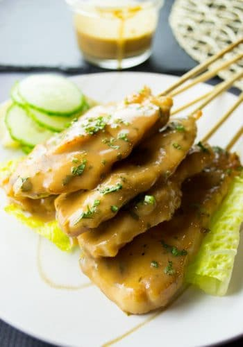 Chicken Satay with Peanut Sauce and Cucumber Relish