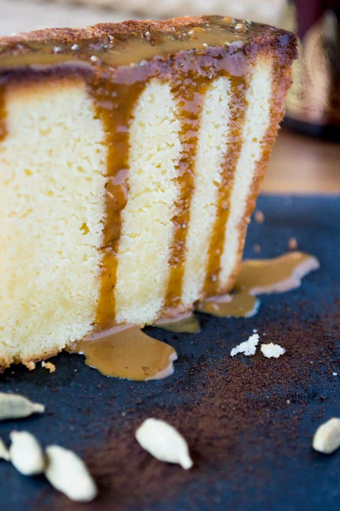 Lemongrass Pound Cake with Thai Coffee Caramel