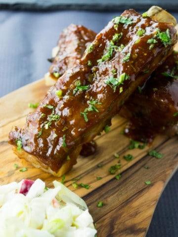Thai BBQ Ribs with Apple Lavender Slaw