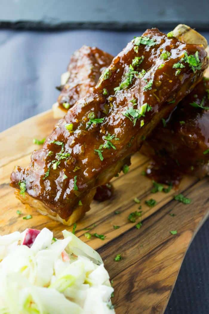 Thai BBQ Ribs with Apple Lavender Slaw