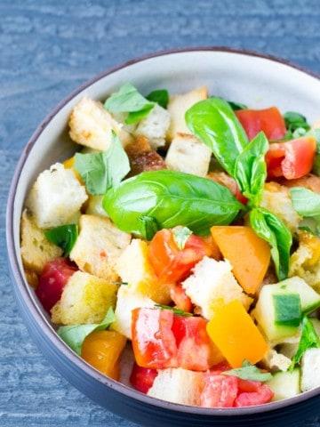 Panzanella Salad Overhead