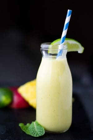 pineapple smoothie with straw