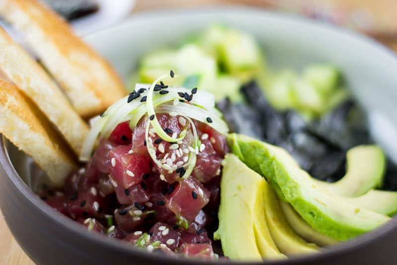Close up photo of Ahi Poke Bowl