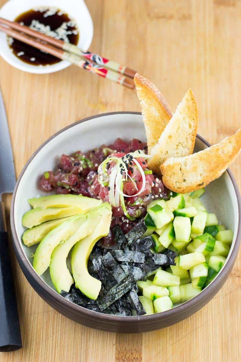 Ahi Poke Bowl with cucumber, nori and avocado