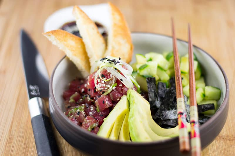 Ahi Poke Bowl close up of cubed poke