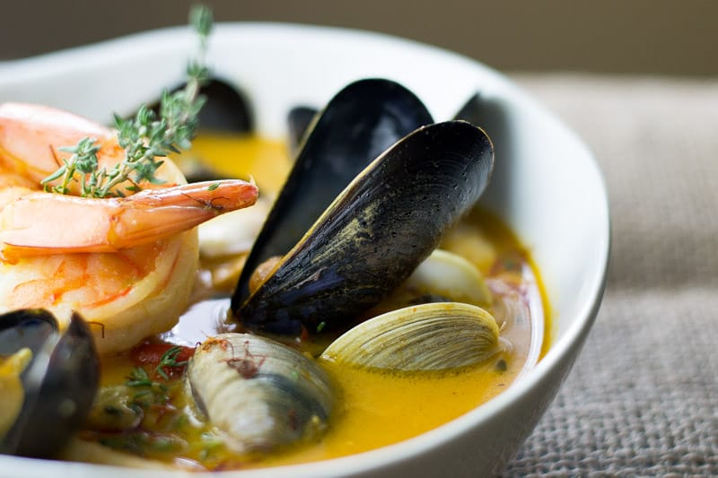 Easy Bouillabaisse with clams, mussels, shrimp and fish
