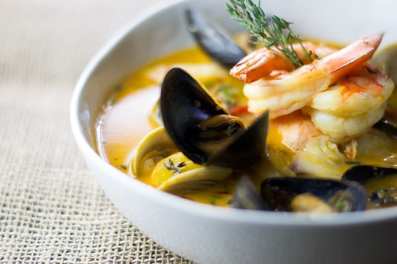 Bouillabaisse with clams, mussels, shrimp and fish
