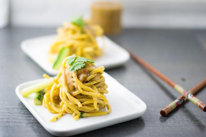 Cold Sesame Noodles with Chopsticks