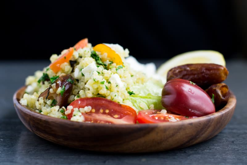 tabbouleh salad with feta and dates