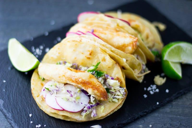 Three Baja Fish Tacos