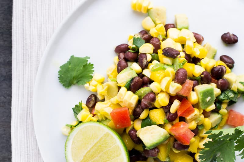 black bean and corn salad with avocado