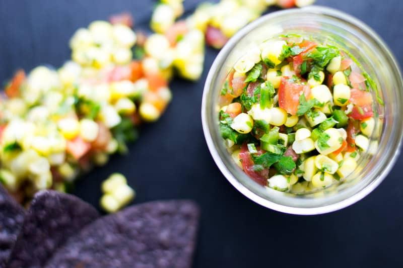 corn salsa in a jar