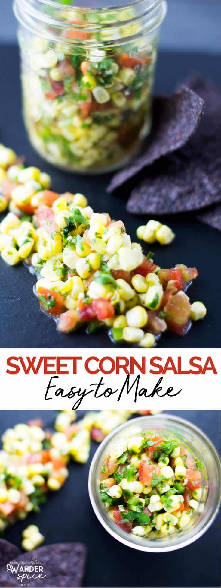 Easy Corn Salsa recipe fresh with tomatoes, cilantro, lime and jalapeño.