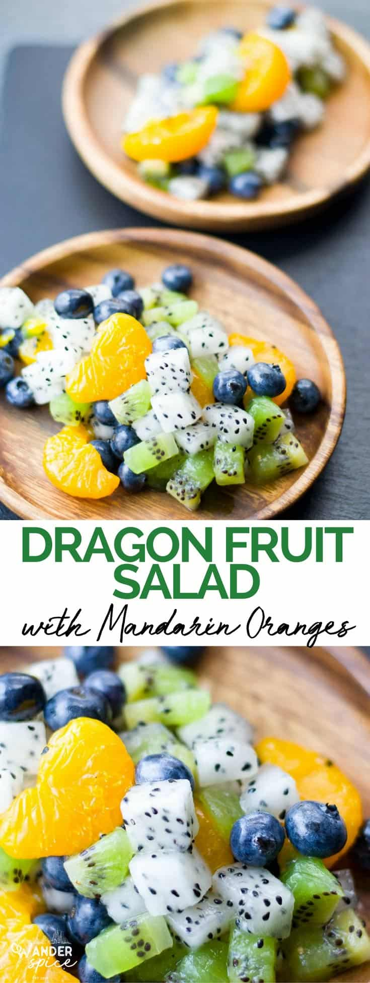 Dragon Fruit Salad Recipe with Mandarin Oranges and Kiwis. Easy and fast to make.