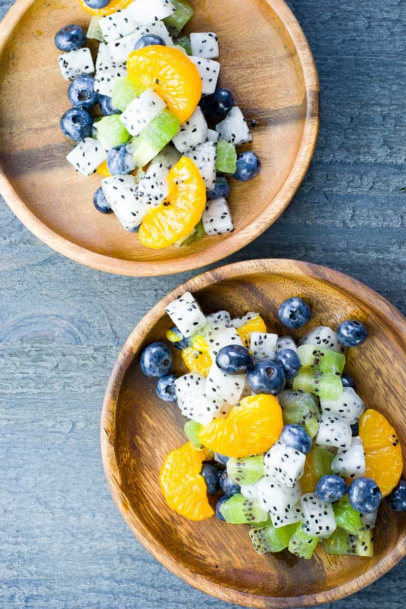 Dragon Fruit Salad with Blueberries and Tangerines
