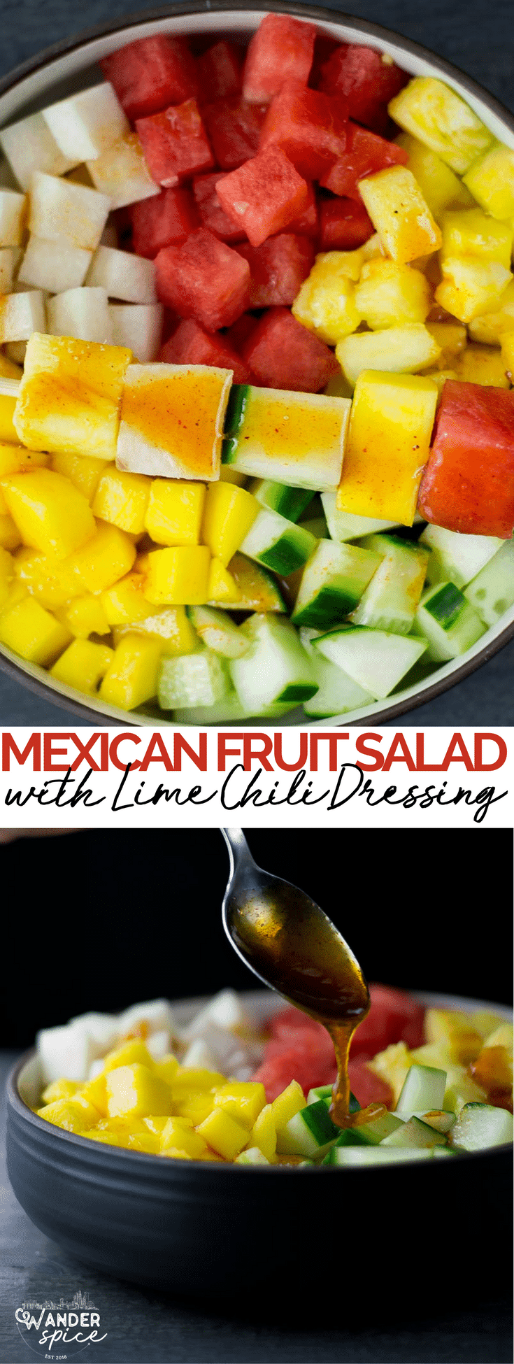 mexican fruit salad recipe | watermelon | cucumbers | jicama | pineapple | mango
