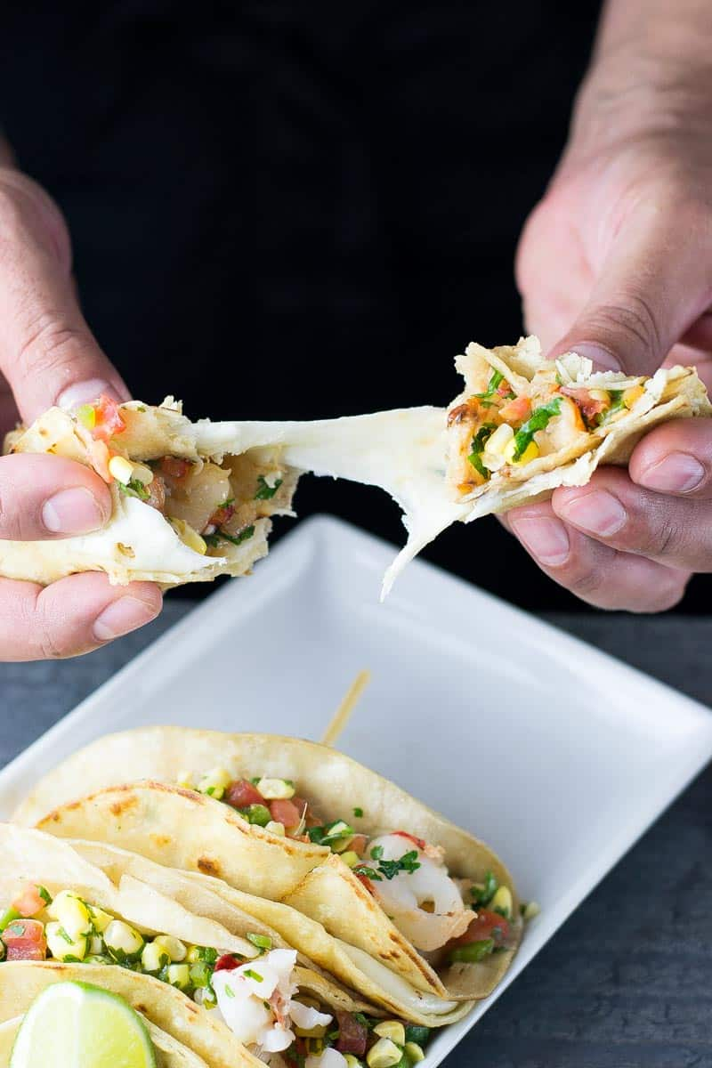 shrimp tacos with cheese