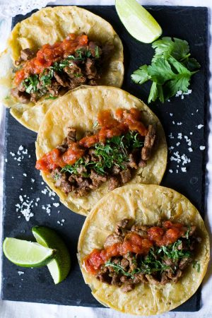 Three Mexican Steak Tacos