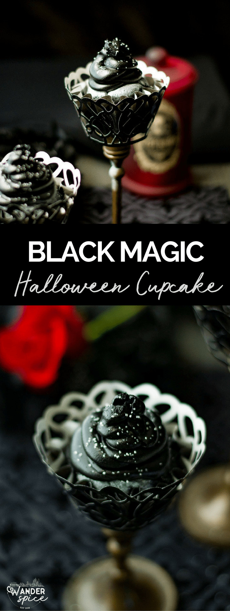 Black Magic Cupcakes - Black Cupcake Recipe for Halloween with Silver Glitter