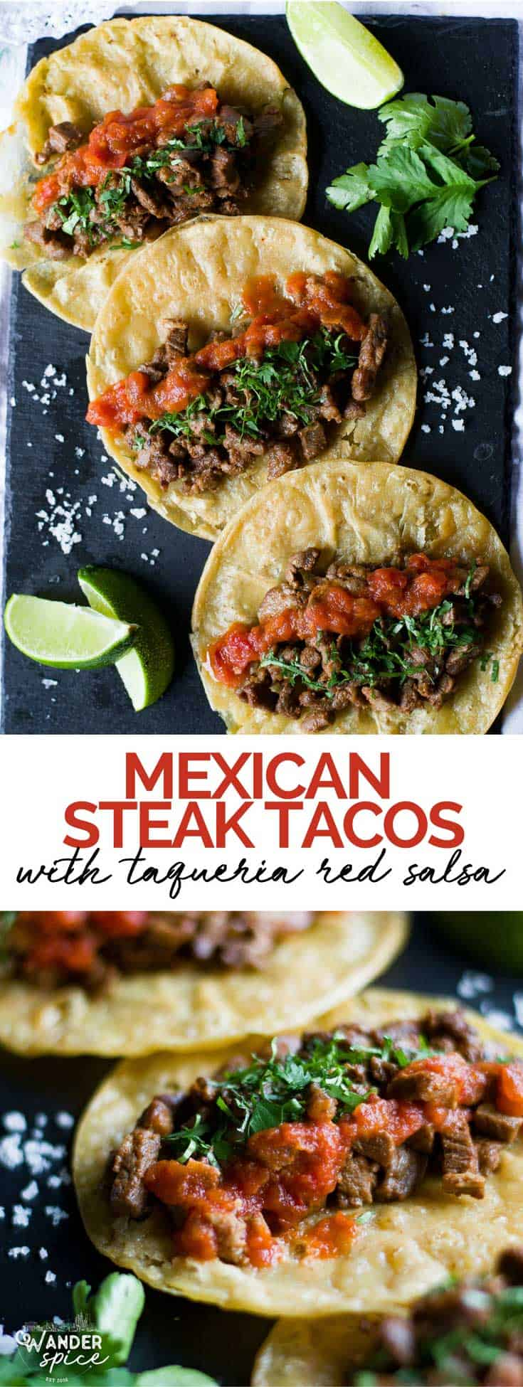 Mexican Steak Tacos - carne asada tacos with taqueria-style red salsa. Tacos | Mexican | Steak | Corn Tortillas | Red Salsa | Cilantro