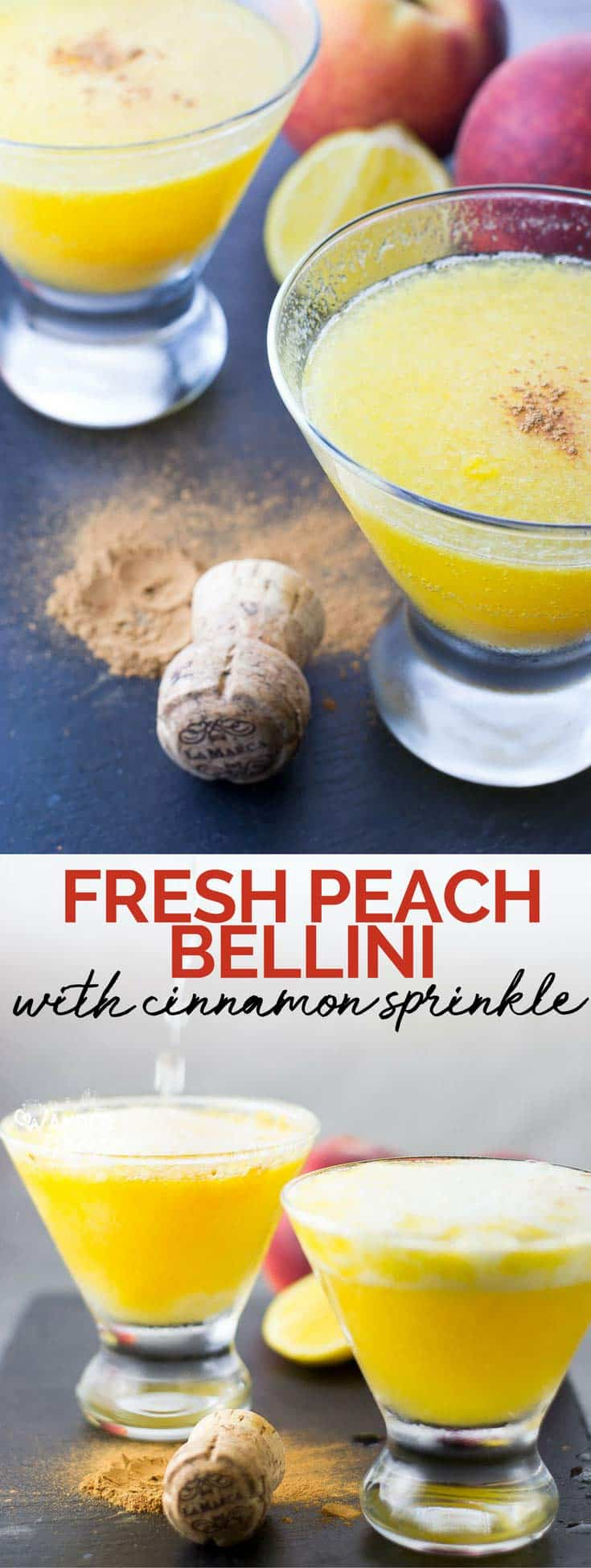 Easy Fresh Peach Bellini Recipe - Prosecco and Peaches Cocktail