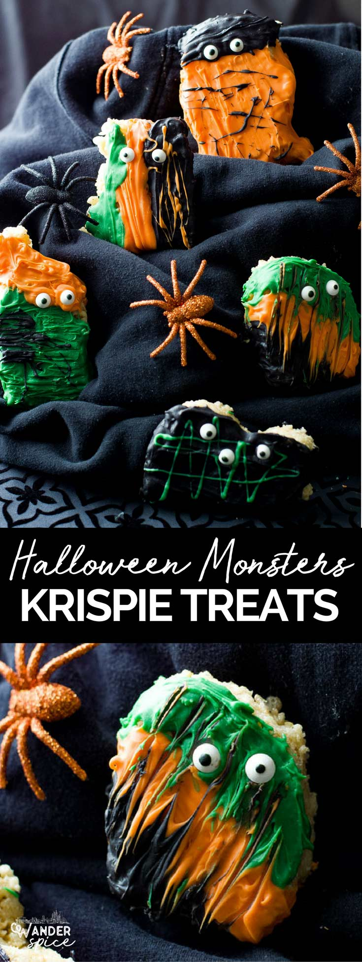Rice Krispie Treats Halloween Monsters Recipe. Tasty and decorated krispie treats dipped in Halloween themed candy melts. #halloween, #rice krispie #kids #desserts