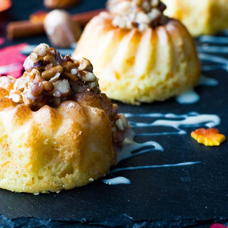 Easy Mini Bundt Cake Recipe.with Pecan Drizzle