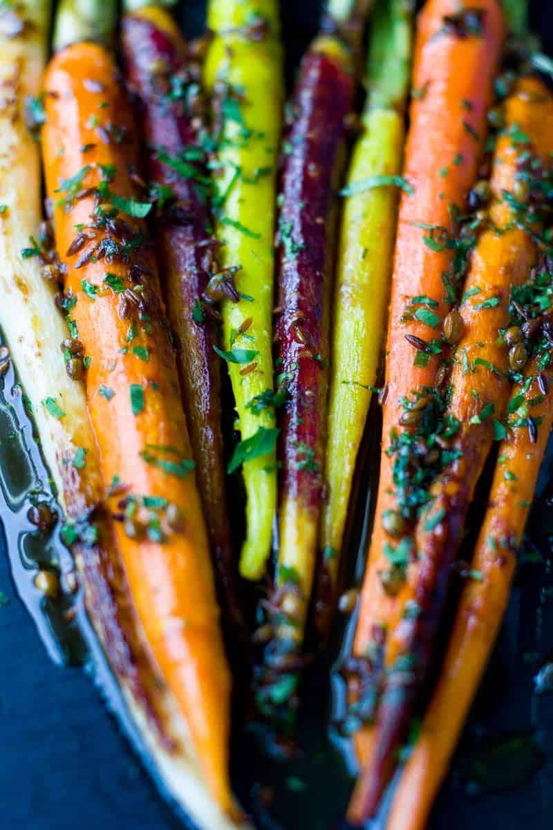 Roasted Glazed Brown Sugar Rainbow Carrots