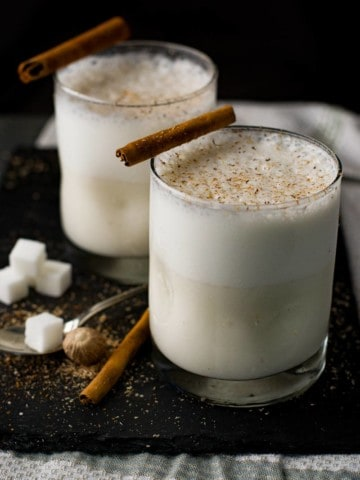 Bourbon Milk Punch with Cinnamon-Nutmeg