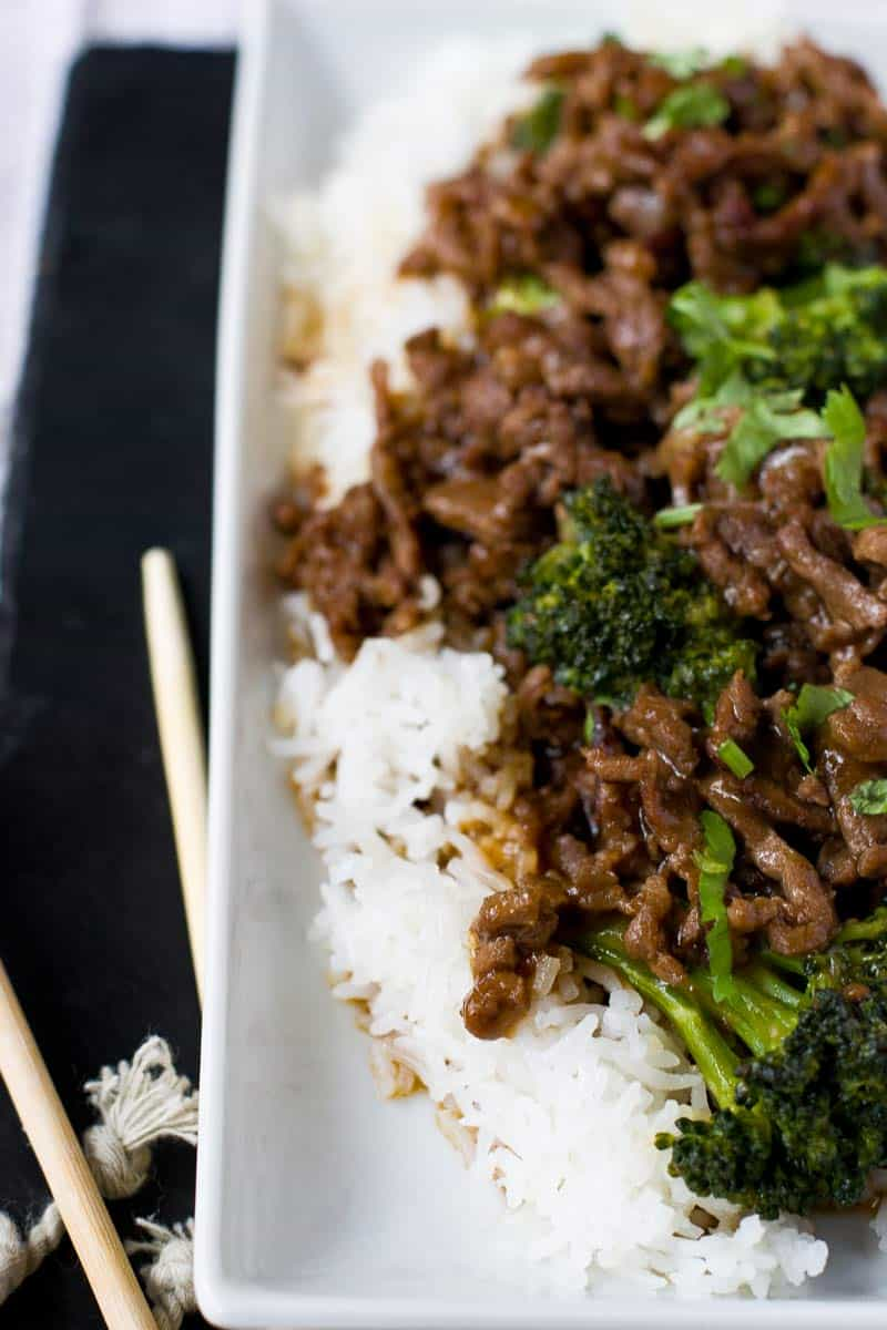Easy Healthy Beef and Broccoli with Chopsticks