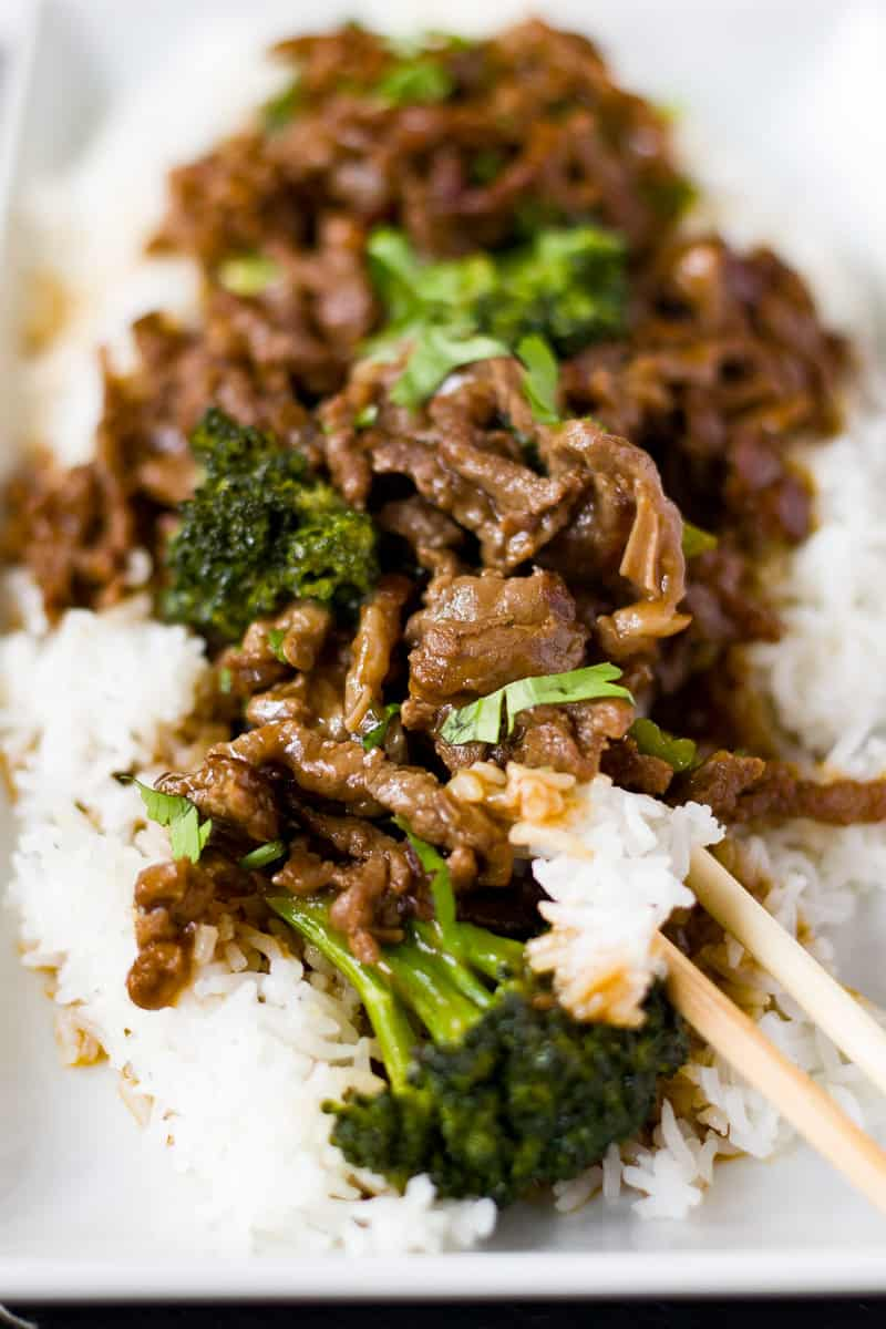 Quick Healthy Beef and Broccoli with large broccoli florets and saucy beef strips