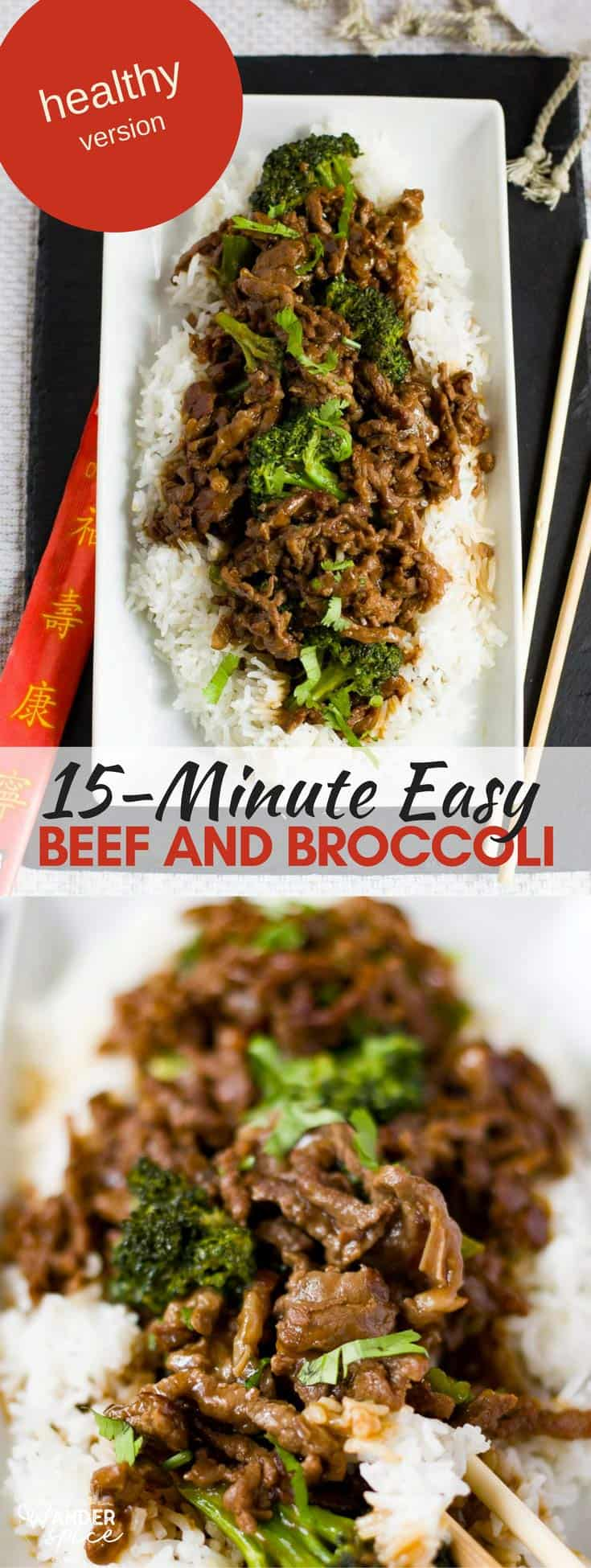 Easy and Healthy Beef and Broccoli on a bed of fluffy white rice. Simple Recipe