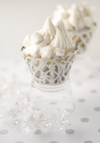 Winter Wonderland Cupcakes for Christmas with sliver sprinkles and marshmallows