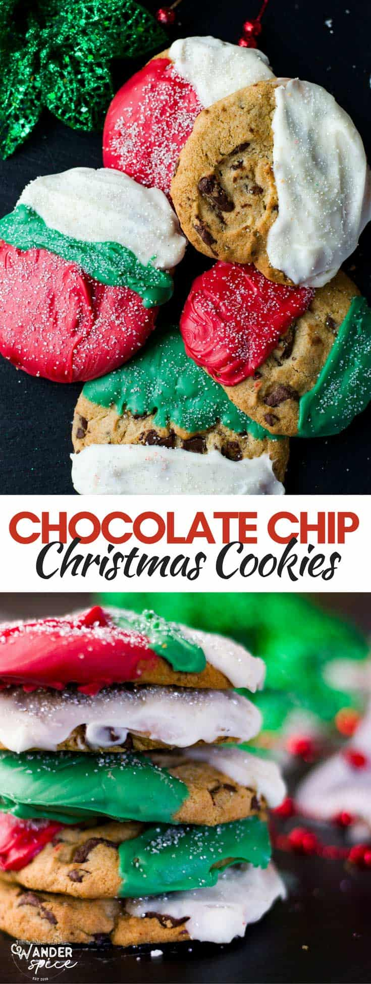 Decorated Christmas Chocolate Chip Cookies for the Holidays. Easy Recipe.