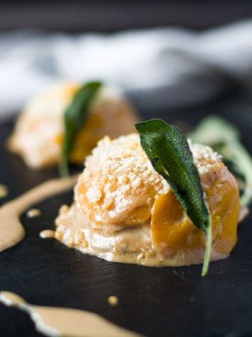 butternut squash gratin prepared in a muffin tray