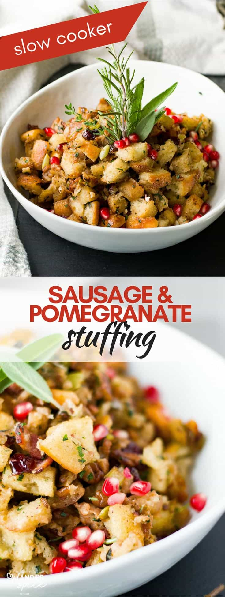 Sausage Stuffing Recipe - Slow Cooker - Crisp Bacon and Pomegranate seeds