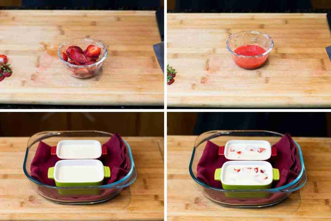 Process shot for strawberry creme brûlée. Images of strawberry puree and cream mixture added to two ramekins.