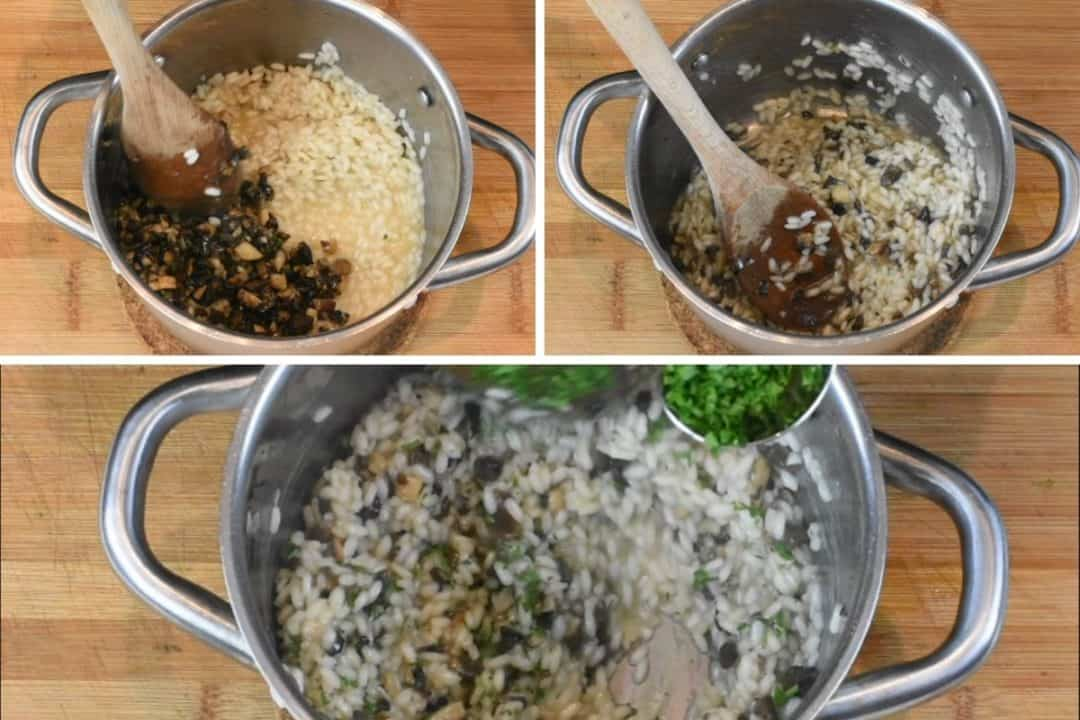 Final process shot for vegan risotto recipe - three images of overhead stockpot